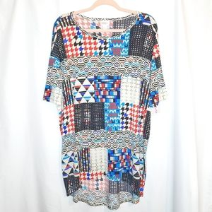 LuLaRoe Irma Eclectic Patchwork High Low Tunic Top